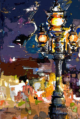 Painting - Paris Street Lights Modern Abstract by Ginette Callaway