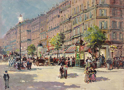 Crowds Painting - Paris Street Scene by Gustave Mascart