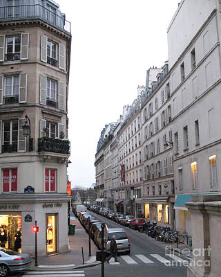 Paris Shops Photograph - Paris Street Scenes - Paris Architecture Buildings Lights - Paris Winter Gray Street Photos by Kathy Fornal