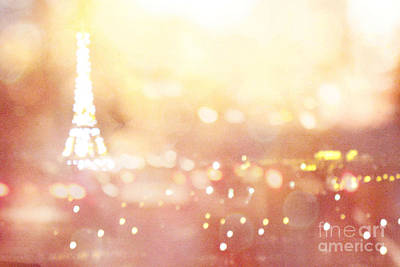 Paris Surreal Dreamy Eiffel Tower Night Lights - Paris Fantasy Eiffel Tower Abstract Bokeh Night Art Art Print by Kathy Fornal