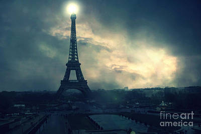Surreal Paris Decor Photograph - Paris Surreal Eiffel Tower Storm Clouds Sun Setting - Teal Aqua Dark Green Eiffel Tower Landscape by Kathy Fornal
