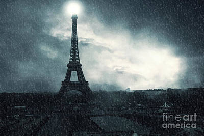 Paris Surreal Eiffel Tower Stormy Winter Snow Landscape - Eiffel Tower Winter Snow Ethereal Skies Print by Kathy Fornal