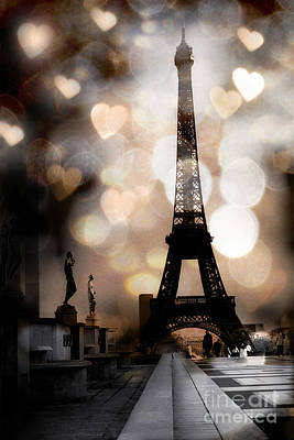 Paris Surreal Fantasy Sepia Black Eiffel Tower Bokeh Hearts And Circles - Paris Eiffel Tower Hearts  Art Print