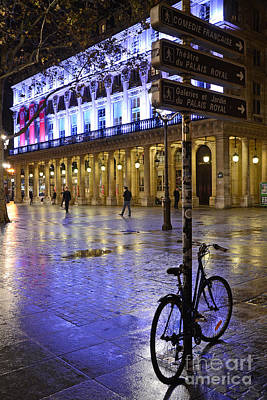Paris Surreal Rainy Night Scene With Bicycle - Palais Royal Theatre District Rainy Night And Bicycle Print by Kathy Fornal