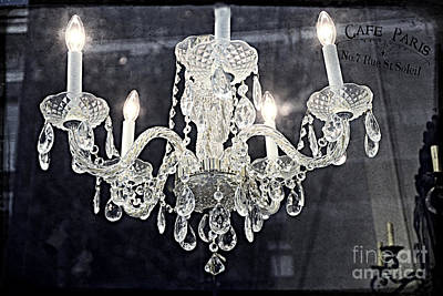 Paris Surreal Silver Crystal Chandelier - Paris Cafe Chandelier Art  Print by Kathy Fornal