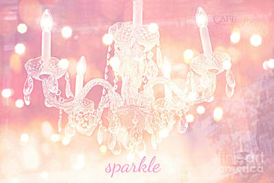Photograph - Paris Surreal Sparkling Pink Bokeh Crystal Chandelier - Paris Sparkle Chandelier Art Deco by Kathy Fornal