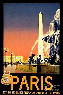 Painting - Paris - Travel Poster by Pg Reproductions