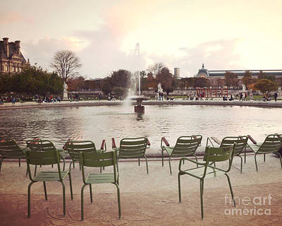 Paris Tuileries Garden Park Fountain Green Chairs - Paris Autumn Fall Tuileries - Autumn In Paris Art Print by Kathy Fornal