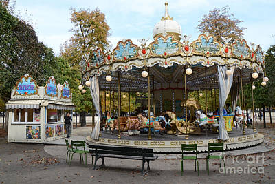 Paris Tuileries Park Carousel - Dreamy Paris Carousel - Paris Merry-go-round Carousel - Tuileries Art Print by Kathy Fornal