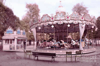 Surreal Paris Decor Photograph - Paris Tuileries Park Carousel - Paris Pink Carousel Horses - Paris Merry-go-round Carousel Art by Kathy Fornal