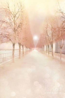 Paris Tuileries Row Of Trees - Paris Jardin Des Tuileries Dreamy Park Landscape  Art Print by Kathy Fornal