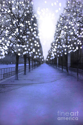 Surreal Paris Decor Photograph - Paris Tuileries Row Of Trees - Purple Lavender Sparkling Twinkling Lights - Paris Sparkling Lights  by Kathy Fornal