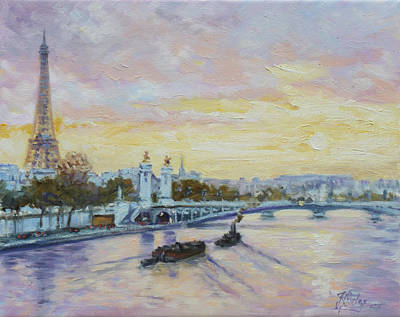 Sunset Painting - Paris View From Seine River by Irek Szelag