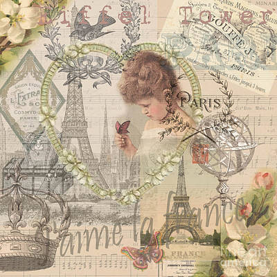 Paris Vintage Collage With Child Art Print