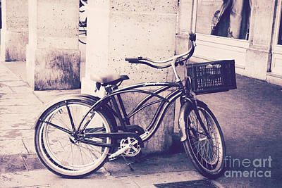 Photograph - Paris Vintage Style Bicycle Photography - Paris Bicycle Bike Street Photo - Paris Vintage Bike Art by Kathy Fornal