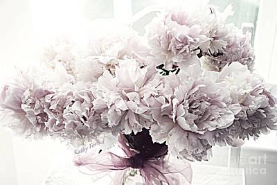 Paris Vintage Style Peonies Art - Paris Romantic French Lavender And Pink Peonies Art Print