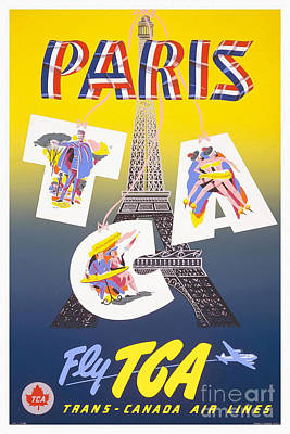 Person Drawing - Paris Vintage Travel Poster by Jon Neidert