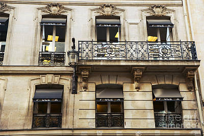 Storefront Photograph - Paris Window Balcony Architecture - Paris Black Gold Building Black Balcony Window Art by Kathy Fornal