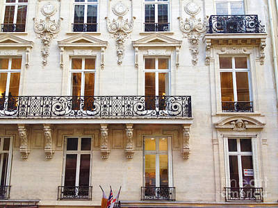 Photograph - Paris Windows Balconies Winter White Black - Paris Art Nouveau Window Door Architecture Lace Balcony by Kathy Fornal