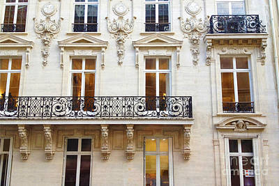 Photograph - Paris Windows And Balconies - Winter White And Black Paris Windows Building Architecture Art Nouveau by Kathy Fornal