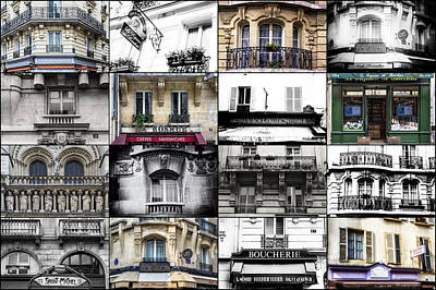 Collage Art For Sale Photograph - Paris Windows Collage by Georgia Fowler
