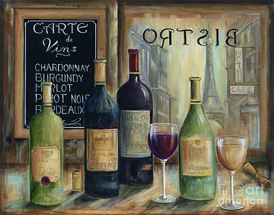 Eiffel Tower Painting - Paris Wine Tasting by Marilyn Dunlap