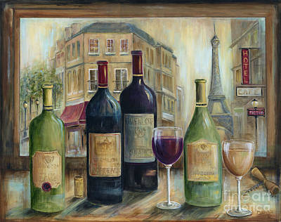 Awnings Painting - Paris Wine Tasting With A View by Marilyn Dunlap