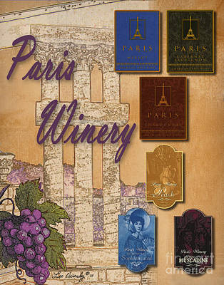 Paris Winery Labels Art Print