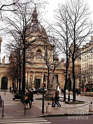 Paris Winter City Streets Architecture Buildings People Winter Street Scene Photos Art Print by Kathy Fornal