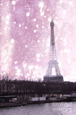 Paris Winter Eiffel Tower - Dreamy Surreal Paris In Pink Eiffel Tower Snow Winter Landscape Print by Kathy Fornal