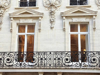 Lace Photograph - Paris Winter White Windows Lace Balconies - Paris Window Balcony Architecture Art Nouveau Art Deco  by Kathy Fornal