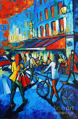 Paris Street Scene Painting - Parisian Cafe by Mona Edulesco