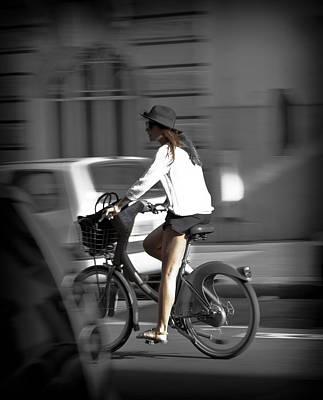 Parisian Girl Cyclist Art Print by Maj Seda