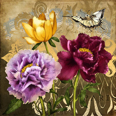 Lavender Digital Art - Parisian Peonies by April Moen
