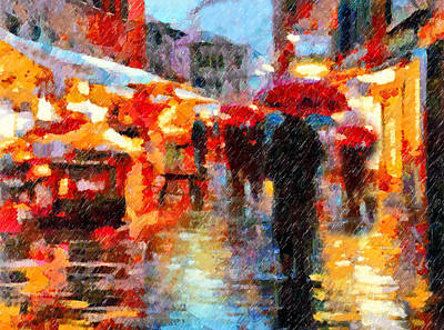 Vibrant Mixed Media - Parisian Rain Walk Abstract Realism by Georgiana Romanovna