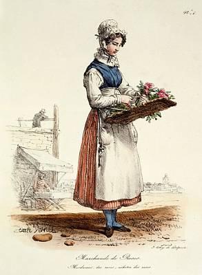 Parisian Drawing - Parisian Rose Seller, Print Made by Carle Vernet