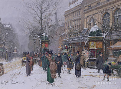 Daily Life Painting - Parisian Street Scene by Eugene Galien-Laloue