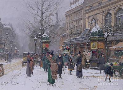 Snow Scene Painting - Parisian Street Scene by Eugene Galien-Laloue