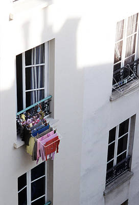 Photograph - Parisian Style-hanging Laundry Out by Harold E McCray