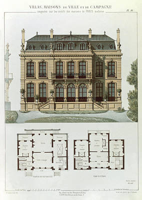 First Steps Drawing - Parisian Suburban House And Plans by Leon Isabey