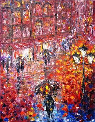 Parisian Umbrellas Art Print by Helen Kagan
