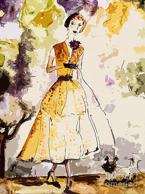 Painting - Parisienne Avec Chien  by Ginette Callaway