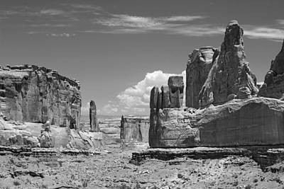 Photograph - Park Avenue Arches National Park 4 Bw by Mary Bedy