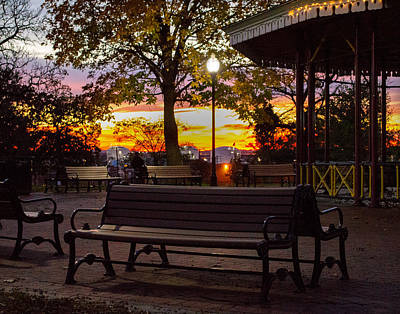 Photograph - Park Bench Evening by Bill Swartwout