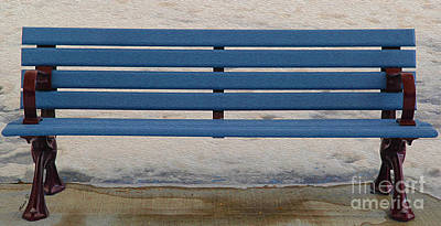 Photograph - Park Bench In Blue by Nina Silver