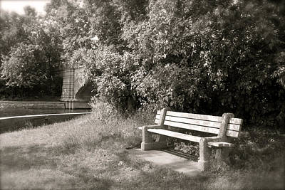 Photograph - Park Bench In Sepia by Heidi Hermes