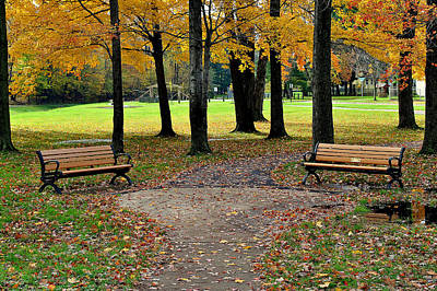 Photograph - Park Bench by Frozen in Time Fine Art Photography