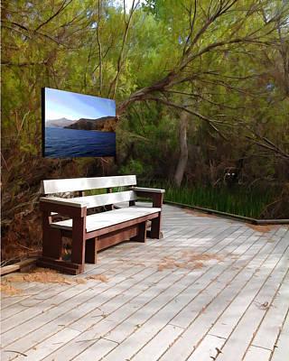 Whimsical Digital Art - Park Bench by Snake Jagger