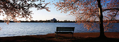 Jefferson Memorial Wall Art - Photograph - Park Bench With A Memorial by Panoramic Images