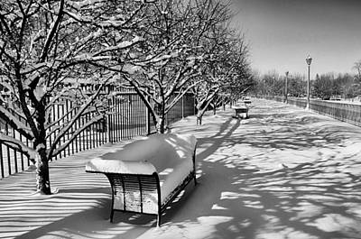 Photograph - Park Benches Snow Upholstered by Gene Sherrill